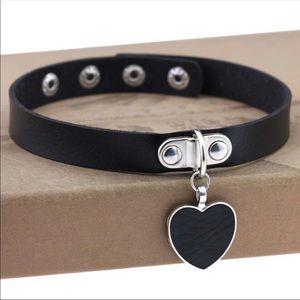 RESTOCKED!!! Black Leather Heart Choker Necklace